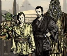 Dooku as a Jedi Knight with Padawan Qui-Gon Jinn, and Jedi Masters Yoda and Tyvokka. Star Wars Jedi, Star Wars Art, Star Wars Characters, Star Wars Episodes, Count Dooku, Jedi Sith, Galactic Republic, War Comics, The Phantom Menace