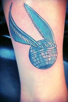 Death Snitch Harry Potter/Star Wars crossover tattoo by Tina Maribito Poppycock Tattoo in Wilmington DE