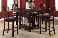 5 Pc. Brown Wood Finish Counter Height Dining Table Set at $998 with Free Delivery in the Henderson/Las Vegas area