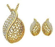 24K Gold Plated Elegant Austrian Crystal Studded African Leaf Pendant & Earring Set