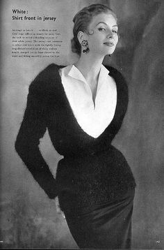 Suzy Parker in black mohair bouclè sweater with deep v-neckline worn over white jersey blouse by Grès, photo by John Rawlings, Vogue UK, October 1953
