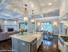 You can view the kitchen, great room, and dining room from this one spot! The Carrera #1178. http://www.dongardner.com/house-plan/1178/the-carrera. #OpenConcept #HomePlan #FloorPlan