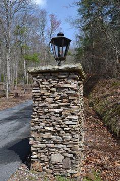 Gas Lantern on Stone Column