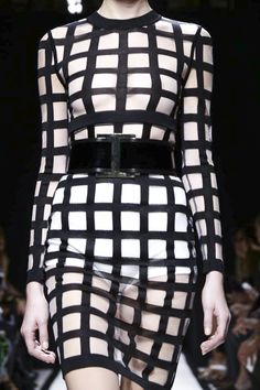 Graphic grid pattern dress lined with sheer fabric; transparent fashion details // Balmain S/S 2015
