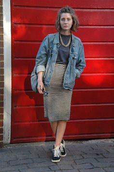Primark Striped Midi Skirt, Nike Blazers, Vintage Denim Jacket, Primark Denim Rucksack, Topshop Turtleneck, H&M Chain