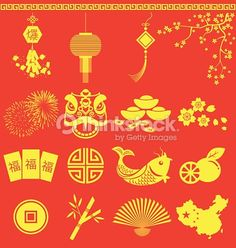 Vector Art : Chinese New Year icons Chinese wording translation is burst and fortunate