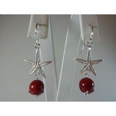 Orecchini stelle marine argento e corallo bamboo