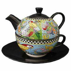 NEU Jameson&Tailor Tea for one PAPAGEI 0,4 Ltr Teekanne Tee Tasse Untertasse Set: Amazon.de: Küche & Haushalt
