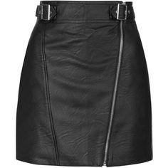 TOPSHOP PU Biker Mini Skirt ($64) ❤ liked on Polyvore featuring skirts, mini skirts, black, topshop, high waisted a line skirt, short a line skirt, short skirts and short black skirt