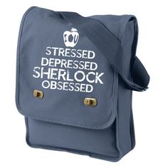 #Sherlock Obsessed Canvas Messenger Bag, Field Bag,Canvas Book Tote, Sherlock Bag, Obsessed,Nerd Girl Tees, Geek Chic Bag Gifts Typography #blackfridaysale #fandoms #cybermondaysale #christmasgift
