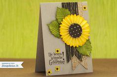 handmade birthday card - sunflower rosette ... kraft base ... fishtail banner  ... delightful!!