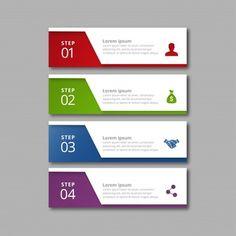 赤色の緑色の青色と紫色のインフォグラフィックの4つのステップ