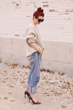 top knot, oversized knit, denim & print pumps #style #fashion #SeaOfShoes