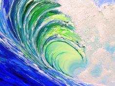 "Custom Original Acrylic Ocean Wave Beach Decor Painting Textured- 30""x30""inches by Kathleen Fenton. $485.00, via Etsy."