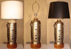 Jet Engine Combustion Chamber Table Lamp with solid by KTsWoodshop, $270.00