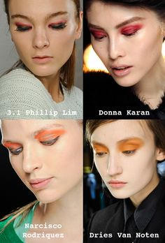 warm shades of red and orange work nicely, just keep the rest of your make-up clean and natural