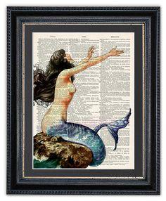 Hey, I found this really awesome Etsy listing at https://www.etsy.com/listing/242310257/mermaid-dictionary-art-print-mermaid-art