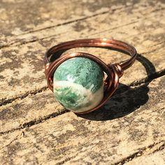 Fancy Jasper Stone , antique copper wire wrapped Ring - by MySoulCanDance on Etsy