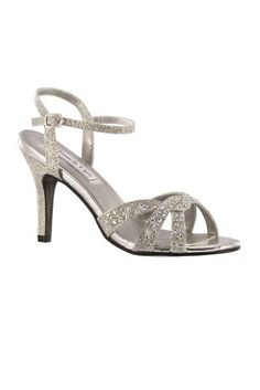 """Dulce from Touch Ups is an elegant and fun special occasion sandal with a glittering shimmer style.  Features small AB stones on the vamp.  Shimmer fabric upper and faux leather lining.  Cushioned footbed.  Rubber outsole.  Heel height: 2 5/8""""."""