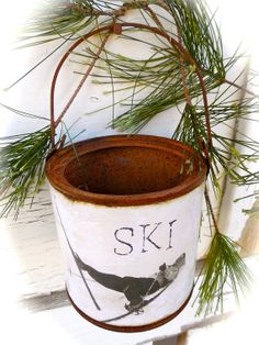 Opps Ski Gal  Ski Décor  Rusty Tin Pail  by shabbychicskiboutiq, $12.00