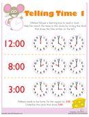 Telling Time with Melissa Mouse 1 Free Printable Worksheets, Free Printables, Telling Time, Math Activities, Maths, Kindergarten, Education, Ideas, Free Printable