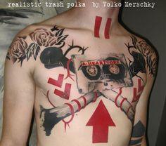 realistic trash polka - graffiti style on the canvas of human body