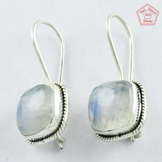 Alluring 4.3 gm Rainbow Moon Stone Sterling Silver 925 Jewelry Earrings $ 12.99 #SilvexImagesIndiaPvtLtd #DropDangle