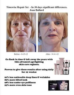 The new Volu Firm by Mary Kay it speaks for it self. If you are interested let me know I will be happy to help you with this.... It is amazing
