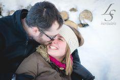 A Sugar shack Engagement photography winter engagementkiss smile