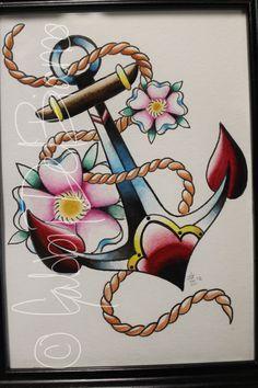 Resultado de imagem para tatuagem ancora neo tradicional