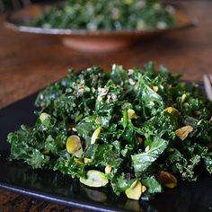 Kale Salad with Miso and Pistachios | Andrew Zimmern breaks from the standard kale salad by adding pistachios and sesame seeds for rich nuttiness and a bright, vinegary miso dressing.
