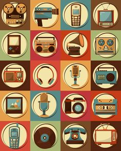 Set of retro vintage devices classic de/sign Premium Vector Flat Design Icons, Retro Design, Icon Design, Graphic Design, Retro Vintage, Vintage Designs, Radios Retro, Ramadan Crafts, Illustration Art