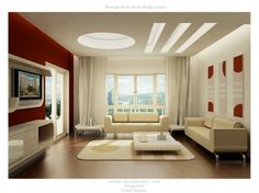 Accent Wall Colors Design Idea for Your Wall Setting : Outstanding Contemporary Large Living Room Design With Maroon Wall Accent And Beautif...