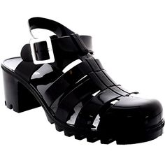 Womens Buckle Jelly Festival Vacation Retro Gladiator Mid Heel Sandals - Black - 6 - 37 - CD0111