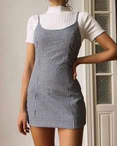 summer fashion spring style ootd outfit plaid dress gingham casual ribbed tshirt - The world's most private search engine Mode Outfits, Fall Outfits, Casual Outfits, Dress Casual, High Socks Outfits, Plaid Outfits, 90s Style Outfits, Thigh High Socks Outfit, Cheap Outfits