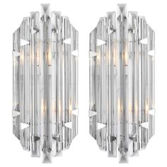 Murano Grey Glass Marquise Sconces in the Style of Venini 1