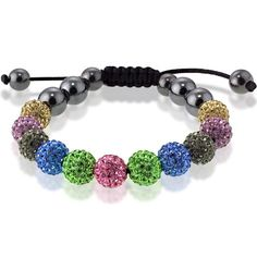 10mm Multi-Colored Crystal and Hematite Beads with Black Cord Macrame Bracelet *** Check out the image by visiting the link.