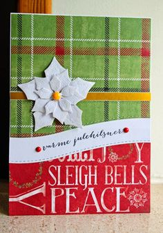 Christmas Card poinsettia plaid paper background PTW Picturing the World: Susanne Stjernesus design