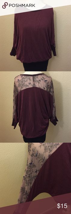 Purple sweater top In good used condition. I bought it bigger to fit more oversized. Looks great with leggings Xhilaration Tops Tees - Long Sleeve