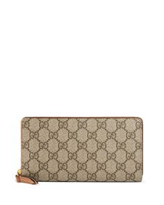 GG Supreme Zip-Around Wallet, Brown, Gg W/Brown Trim - Gucci