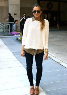 cream sweater and brown button-down