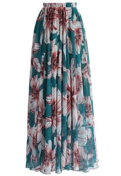 Marvelous Floral Maxi Skirt in Turquoise - New Arrivals - Retro, Indie and Unique Fashion