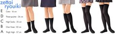 "Zettai Ryōiki (絶対領域?) Meaning ""Absolute Territory"", this phrase refers to the area of exposed thigh when a girl is wearing a short skirt and thigh high socks. The 'ideal' skirt:thigh:sock above knee ratio is often reported to be 4:1:2.5. Zettai Ryōiki are often referred to by letter grades, where Grade A is the ideal and grade F is ankle socks, another grade, grade S, also exists consisting of Grade A in combination with ponytails and Tsundere personality."