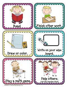 """Free """"I'm Done!"""" Picture Cards- Great for an early finisher board (tri-fold board) with papers ready for coloring, easy math games, pages in sheet protectors to practice handwriting and more (with dry erase markers/erasers) Classroom Procedures, Classroom Organisation, Classroom Behavior, School Organization, Kindergarten Classroom, Future Classroom, School Classroom, Classroom Management, Class Management"""