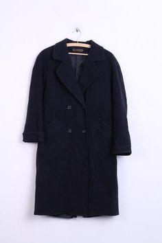 Marks&Spencer Womens 12 L Coat Navy Wool Nylon Double Breasted Raglan Sleeve - RetrospectClothes