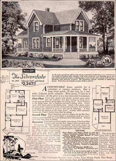 1923 Silverdale by Sears Modern Homes - Kit Houses - American Vernacular Farmhouse. I would add a bath upstairs and move the bath off of the kitchen closer to the first floor bedroom. The Sims, Sims 4, Sears Catalog Homes, Vintage House Plans, Vintage Houses, Victorian Houses, Farmhouse Floor Plans, Farmhouse Style, Second Empire