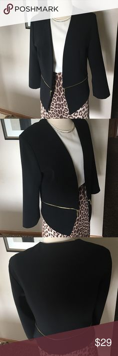 "New York &Company Size 14 beautiful zipper waist j NWOT,black with golden zipper,peplum style ,good quality jacket.Shoulders 17"".Length back 21"" ,front 26"" New York & Company Jackets & Coats"
