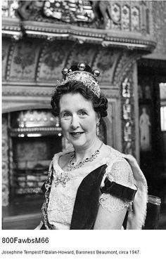Baroness Beaumont, Mona Tempest Fitzalan-Howard, 11th Baroness Beaumont and Baroness Howard of Glossop. In 1947, wearing the intricate diamond and pearl tiara by Catchpole and Williams.