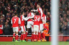The Arsenal players celebrated the late goal knowing they had kept hopes of Champions League qualification alive... Monreal's attempt at goal is deflected off Huth scoring an Owen goal but we will take the 3 points thank you very much😁🍁