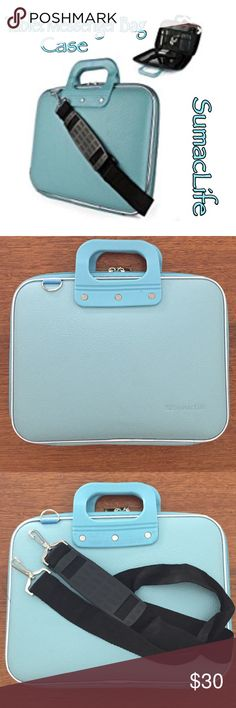 """Tablet Messenger Bag Case Messenger bag case for tablets.  •10"""" x 14"""" •Inside Velcro strap to secure tablet  •Individual compartments for organization  •Crossbody Carry Strap •Color:  Tiffany blue  •Never used. Brand New. NWOT SumacLife Bags Laptop Bags"""